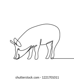 One line drawing of pig vector minimal lineart