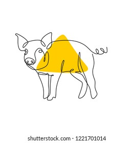 One line drawing of pig vector simple continuous lineart style