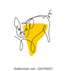 One line drawing of pig vector minimalist design