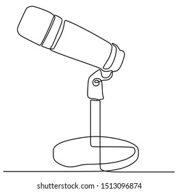 one line drawing podcast microphone vector illustration minimalist design