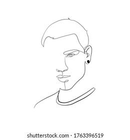 One line drawing of portrait man. Minimal silhouette male face. Modern sketch portrait. Outline symbol. Symbol, sign. Vector drawing illustration.