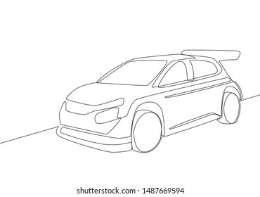 One line drawing of rally and drifting sporty sedan car. Vehicle transportation concept. Single continuous line draw design