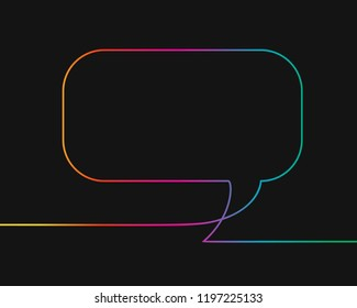 One line drawing of rectangular speech bubble, Rainbow colors on black background vector minimalistic linear illustration made of continuous line