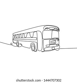 One line drawing of school bus. Single continuous line drawing back to school concept vector illustration