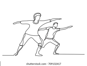 one line drawing of seniors doing exercise