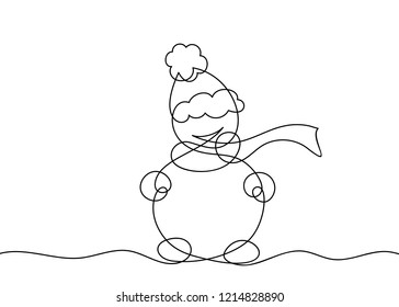 One line drawing of snowman, Black and white vector minimalistic linear illustration made of continuous line