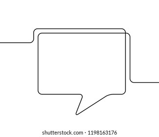 One line drawing of speech bubble, Black and white vector minimalistic linear shape made of continuous line rectangular with round corners