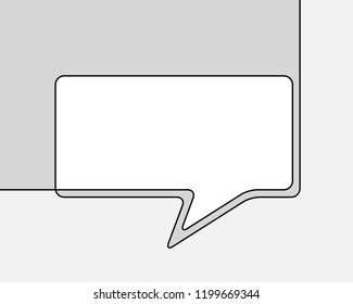 One line drawing of speech bubble, Black and white vector minimalistic linear shape made of continuous line rectangular with round corners on grayscale background