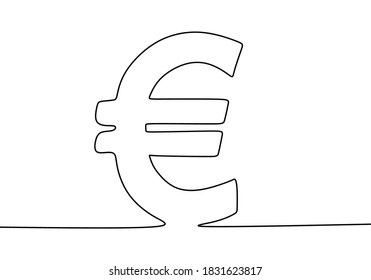 One line drawing style of a euro money sign isolated on white background. Business concept sketch of investment profit. Currency theme minimalism hand drawn style. Vector illustration