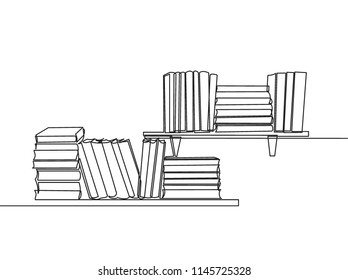 One line drawing of tidy books lined up on bookshelf. Single continuous line art of two layers bookcase. Smart education concept vector illustration