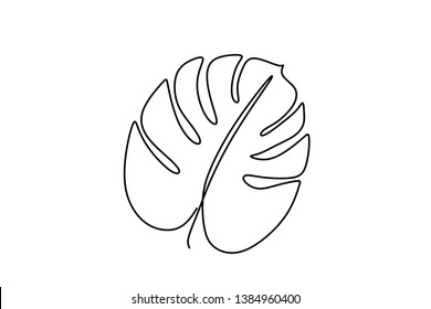 One line drawing of tropical leaves continuous design