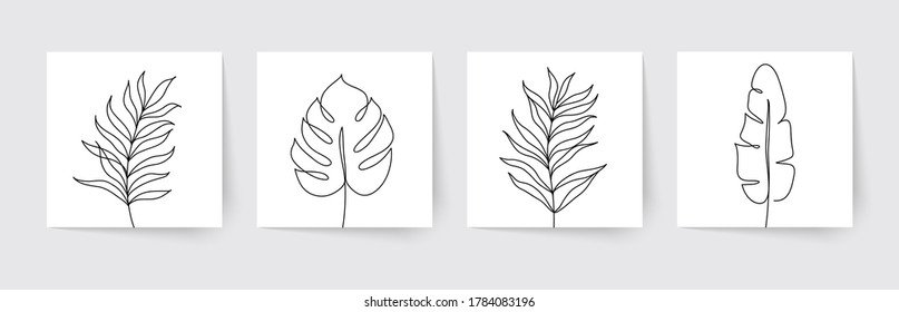 One line drawing of tropical palm leaves. Modern single line art. Vector illustration.