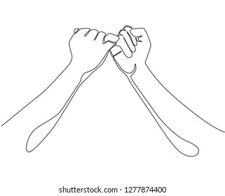 One line drawing of two hands hook each other their little fingers. Friendship bond in continuous line drawing design style. Promise concept vector illustration