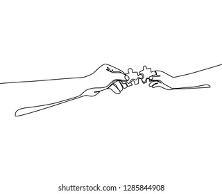 One line drawing of two hands holding puzzle pieces and want to merge together. Father or mother and son teamwork - continuous line draw vector