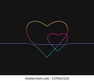 One line drawing of two hearts, Rainbow colors on black background vector minimalistic linear illustration of love concept made of continuous line