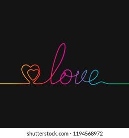One line drawing of two hearts and word LOVE, Rainbow colors on black background vector minimalistic linear illustration of love concept made of continuous line