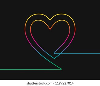 One line drawing of two hearts, Rainbow colors on black background vector minimalistic linear illustration of family and love concept made of continuous line