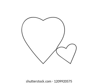 One line drawing of two hearts, Black and white vector minimalist illustration of love concept made of continuous line