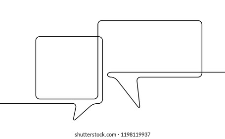 One line drawing of two speech bubbles, Black and white vector minimalistic linear illustration made of continuous line with round corners