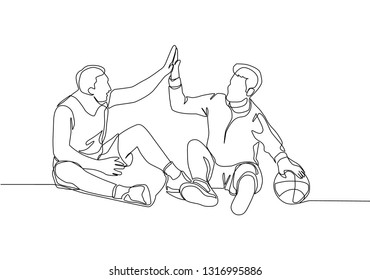 One line drawing of two young happy men take a rest after playing basketball at court. Sport game concept continuous line draw design illustration