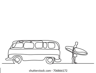 one line drawing of van and man with surfboard on beach