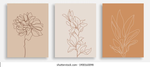 One Line Drawing Vector Flowers Print Set. Botanical Poster. Modern Single Line Art, Aesthetic Contour. Perfect for Home Decor, Wall Art Posters, or t-shirt Print, Mobile Case. Continuous Line Drawing