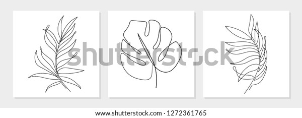 One Line Drawing Vector Monstera Leaf Stock Vector Royalty Free 1272361765