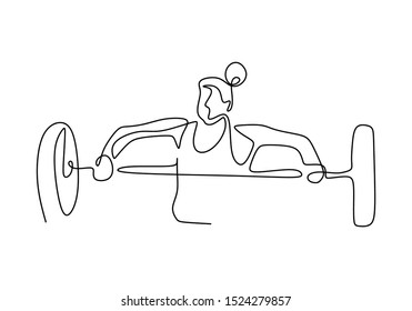 One line drawing of woman body builder at gym. Girl workout with lifting barbells during a weightlifting session at gymnasium.