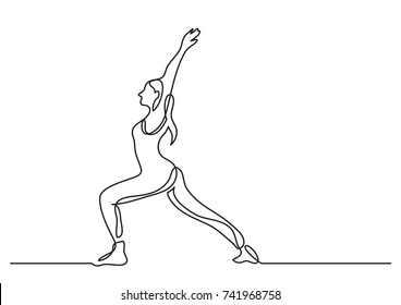 one line drawing of woman doing yoga