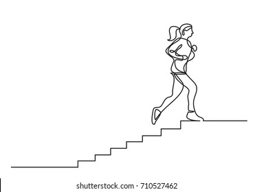 one line drawing of woman running on stairs