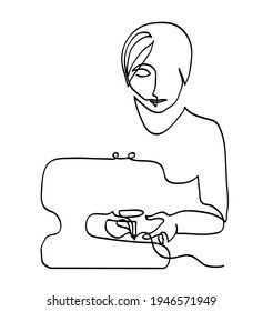 One line drawing of woman and sewing machine. One continuous line drawing of closeup hands inserting thread into sewing machine needle.