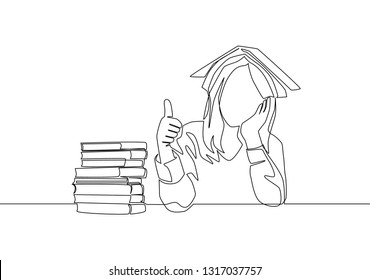 One line drawing of young bored female student read stack of books in library and put the book on her head. Education concept continuous line draw design