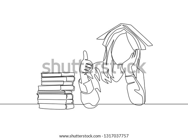 One Line Drawing Young Bored Female Stock Vector (Royalty