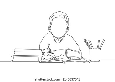 One line drawing of young boy elementary school student reading the book beside stack of books. Single continuous line drawing back to school concept vector illustration