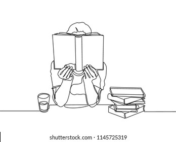 One line drawing of young boy focus reading book at library. Single continuous line art of kid studying by himself with glass of water. Smart education concept vector illustration