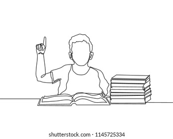 One line drawing of young boy raise his hand up telling that he knew something. Single continuous line art of kid studying by himself. Smart education concept vector illustration