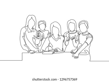 One line drawing of young female elementary school teacher surrounded by her students. Education concept. Continuous line draw design