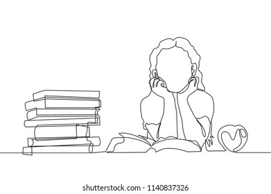 One line drawing of young girl elementary school student reading the book beside stack of books. Single continuous line drawing back to school concept vector illustration