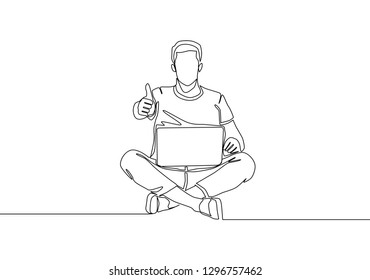 One line drawing of young happy student sitting on the floor to study. Education concept. Continuous line draw design