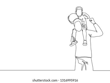 One line drawing of young happy father lift up his kids on the shoulder. Parenting concept continuous line draw design illustration