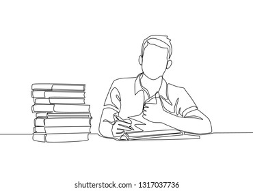 One line drawing of young happy male college student reading stack of books in library. Education continuous line draw design
