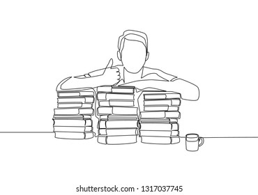 One line drawing of young happy male student giving thumbs up gesture on a pile of books. Education concept continuous line draw design
