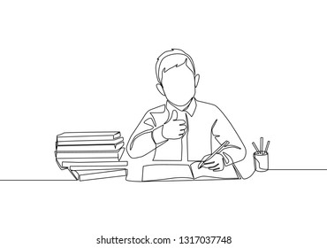 One line drawing of young happy boy student study diligently beside the stack of books. Education concept continuous line draw design