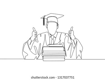 One line drawing of young happy graduate male college student wearing graduation uniform and giving thumbs up gesture in front of books stack. Education concept continuous line draw design