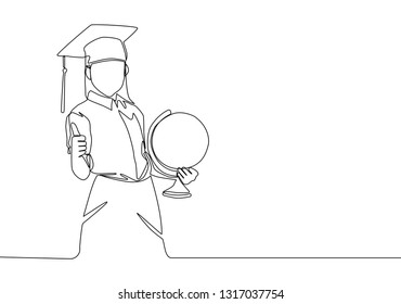 One line drawing of young happy female student carrying a globe and wearing graduation hat. Education concept continuous line draw design