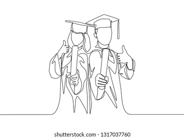 One line drawing of young happy couple male and female student wearing graduation uniform and holding the diploma certificate paper. Education concept continuous line draw design