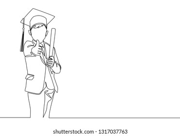 One line drawing of young happy boy student wearing graduation hat and giving thumbs up gesture. Education concept continuous line draw design