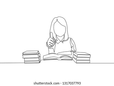 One line drawing of young happy elementary school girl student studying in the library and reading stack of books. Education concept continuous line draw design