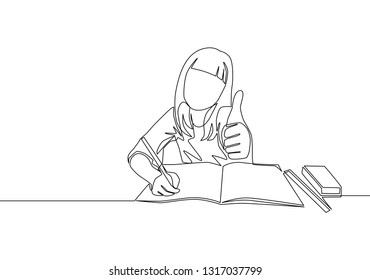One line drawing of young happy elementary school girl student studying in the library. Education concept continuous line draw design