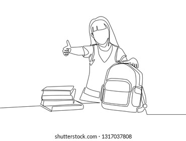 One line drawing of young happy elementary school girl student packing stack of books up to put into the bag. Education concept continuous line draw design